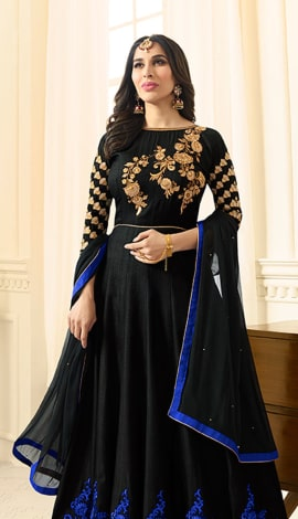Black Art Silk Salwar Kameez