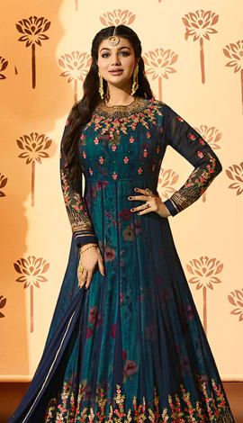 Dark Blue Georgette Salwar Kameez