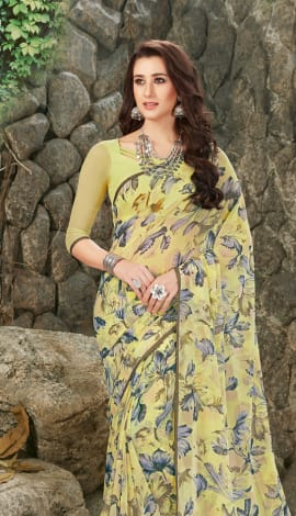 Light Yellow Georgette Saree
