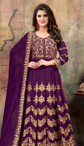 Purple Georgette Salwar Kameez