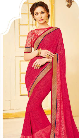 Dark Pink Georgette Saree