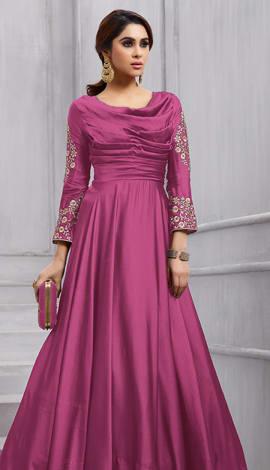 Pink Art Silk Salwar Kameez