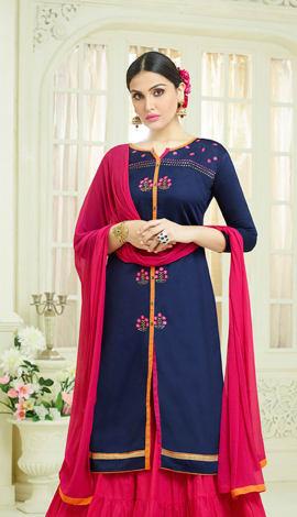 Navy Blue Cotton Salwar Kameez