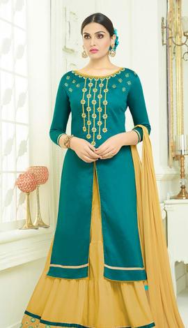 Teal Green Cotton Salwar Kameez