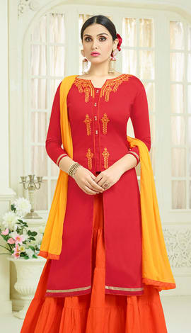 Red Cotton Salwar Kameez