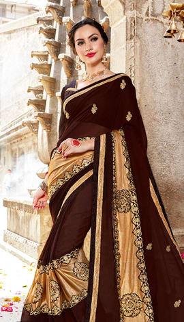 Brown Lycra & Georgette Saree