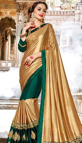 Golden & Teal Green Lycra & Georgette Saree