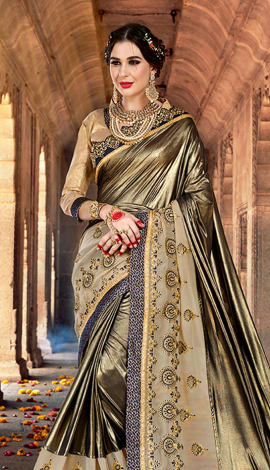Copper & Grey Lycra & Georgette Saree