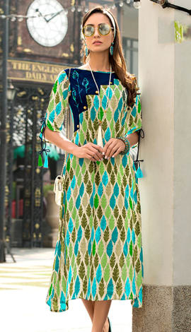 Light Blue & Green Rayon Kurti