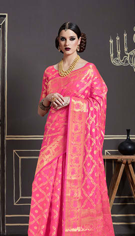 Pink Nylon Art Silk Saree