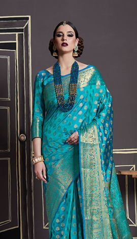 Blue Nylon Art Silk Saree