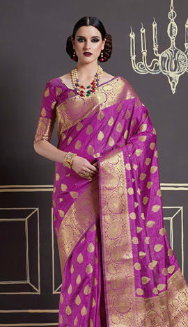 Magenta Pink Nylon Art Silk Saree