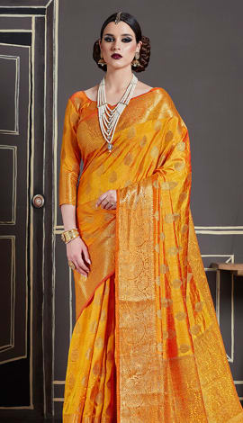 Musturd Yellow Nylon Art Silk Saree