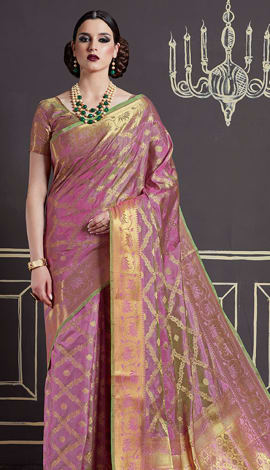 Light Pink Nylon Art Silk Saree