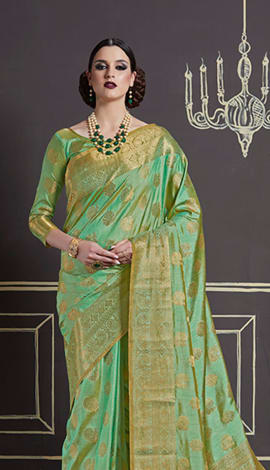Light Green Nylon Art Silk Saree