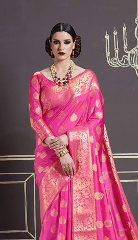 Rani Pink Nylon Art Silk Saree