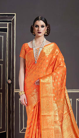 Orange Nylon Art Silk Saree