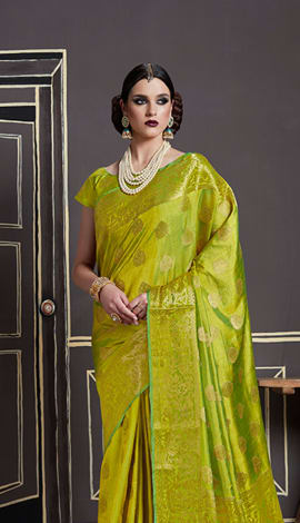Pear Green Nylon Art Silk Saree