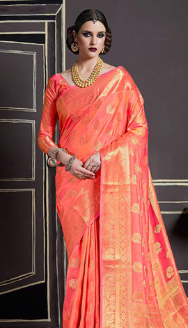 Dark Peach Nylon Art Silk Saree