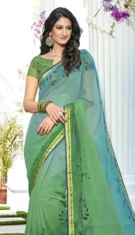 Light Blue & Light Green Chiffon Saree