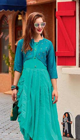Turquoise Blue Soft Silk Kurti