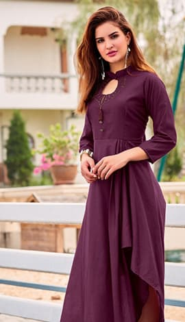 Purple Soft Silk Kurti