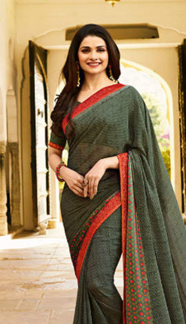 Dark Grey Georgette Saree