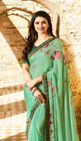 Sea Green Georgette Saree