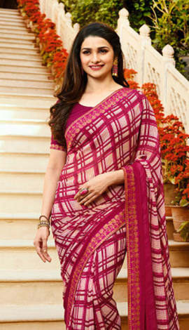 White & Magenta Pink Georgette Saree