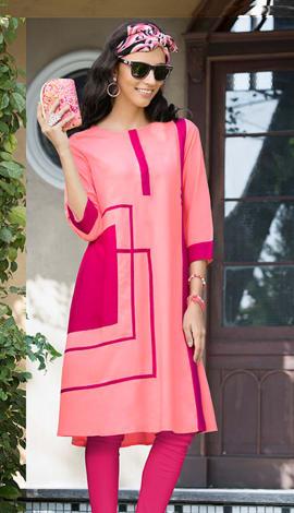 Light Pink Rayon Kurti