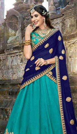 Turquoise Blue Soft Silk Lehenga