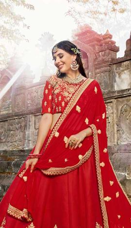 Red Soft Silk Lehenga