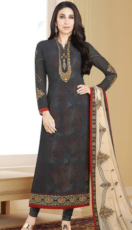 Dark Gray Georgette Salwar Kameez