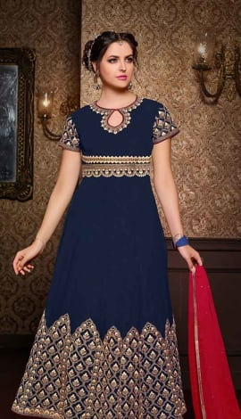 Neavy Blue Georgette + Bhagalpuri Salwar Kameez