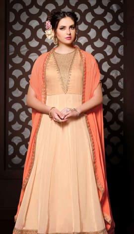 Beige Georgette + Bhagalpuri Salwar Kameez