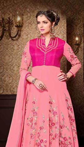 Light Pink Georgette + Bhagalpuri Salwar Kameez