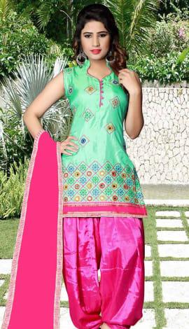 Light Green Tapeta Silk Salwar Kameez