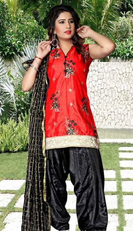 Red Tapeta Silk Salwar Kameez