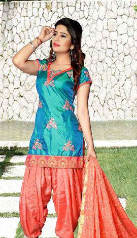 Light Blue Tapeta Silk Salwar Kameez