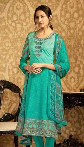 Teal Lawn Cotton Salwar Kameez