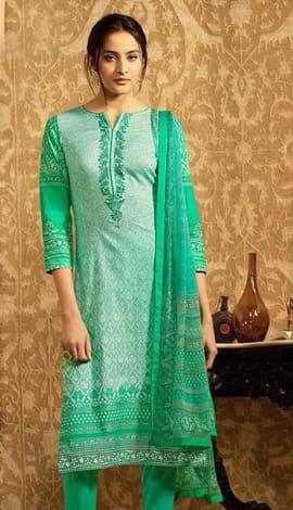 Green Lawn Cotton Salwar Kameez