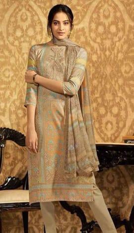 Light Brown Lawn Cotton Salwar Kameez