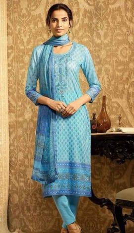 Sky Blue Lawn Cotton Salwar Kameez