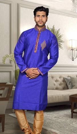 Blue Banglori Silk Men