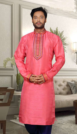 Pink Banglori Silk Men
