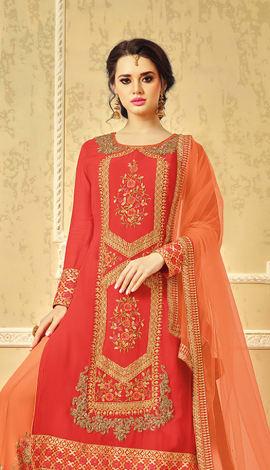Orange Sparkle Lycra Salwar Kameez