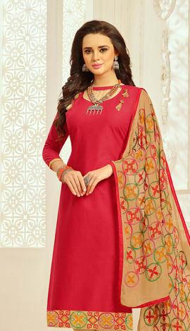 Dark Pink Cotton Salwar Kameez