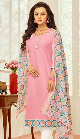 Light Pink Cotton Salwar Kameez