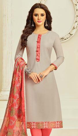 Light Gray Cotton Salwar Kameez
