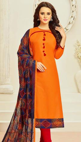 Orange Cotton Salwar Kameez